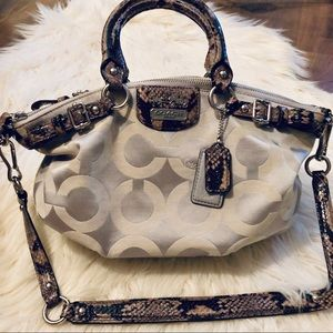 Coach signature sateen and snakeskin shoulder bag